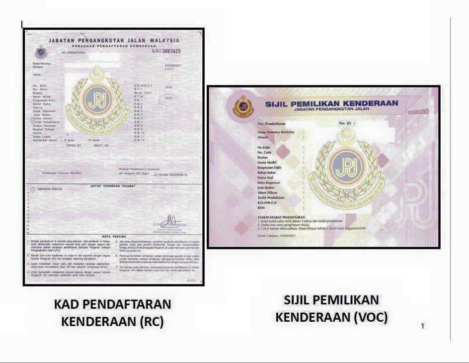 sijil pemilikan kenderaan (VOC)/Kad pendaftaran kenderaan (RC) JPJ