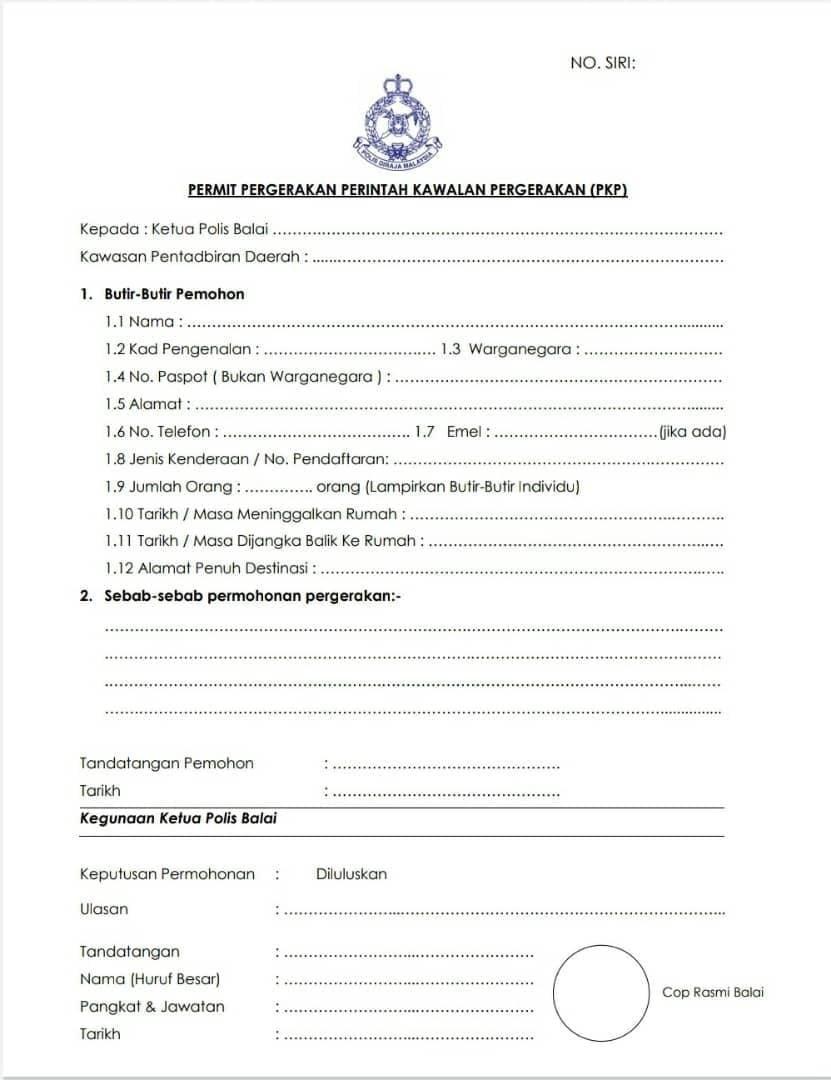 borang permit kebenaran rentas negeri/daerah