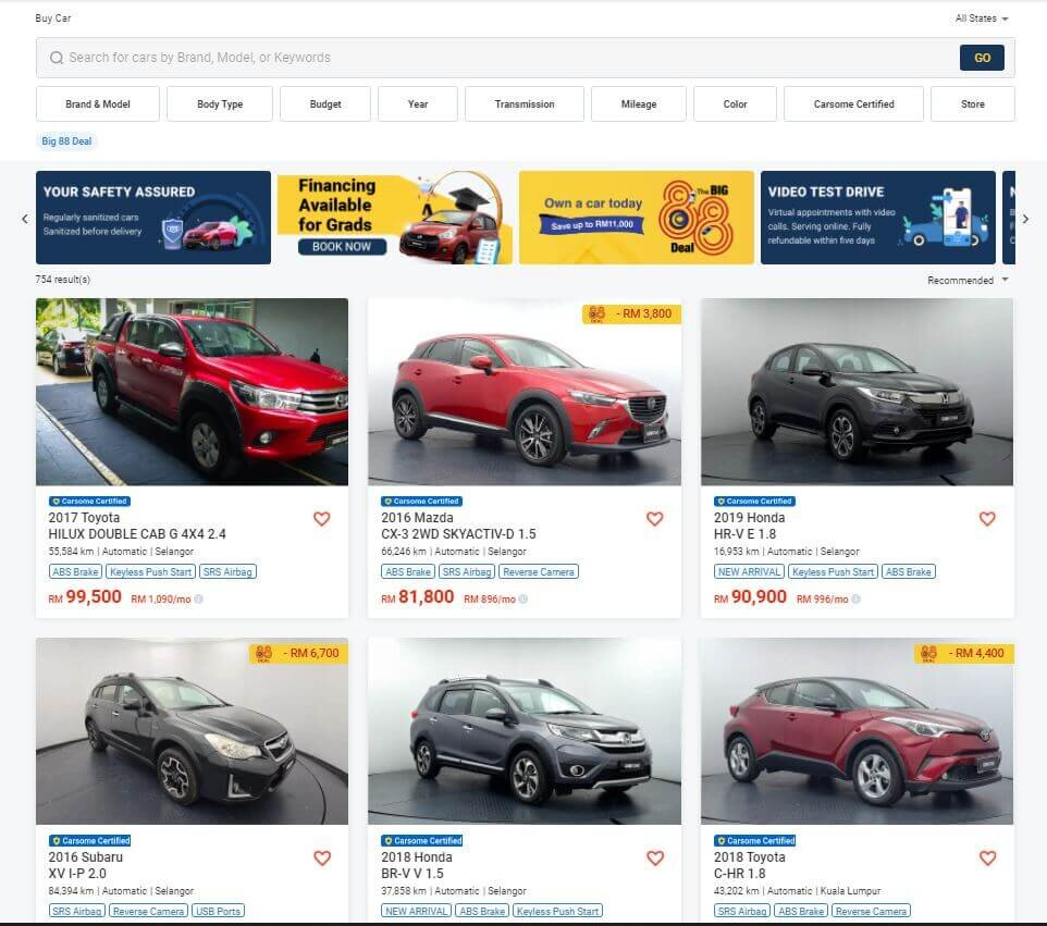 carsome used car listing