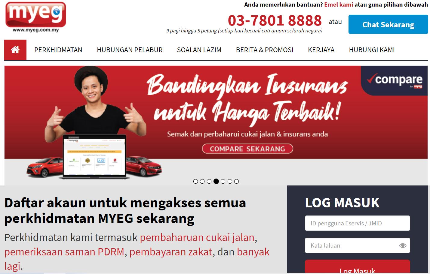 laman web MyEG - portal untuk semak saman, perbaharui cukai jalan