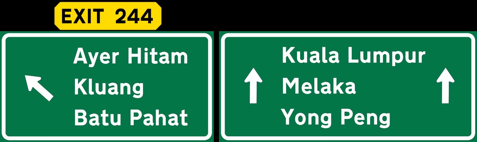 susunan lokasi pada papan tanda jalan raya
